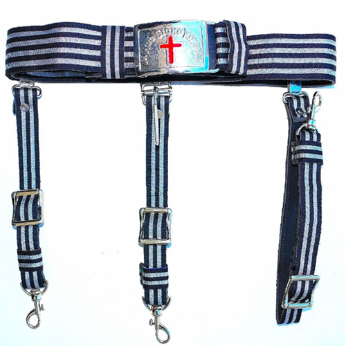 Knights Templar Sir Knight Black & Silver Sword Belt - Regalialodge