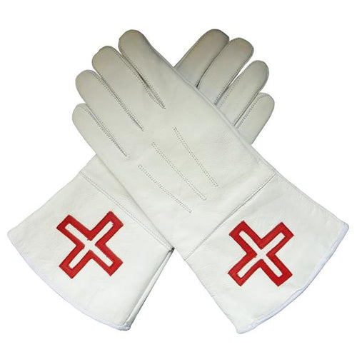 St. Thomas of Acon Gauntlets Red Cross Soft Leather Gloves - Regalialodge