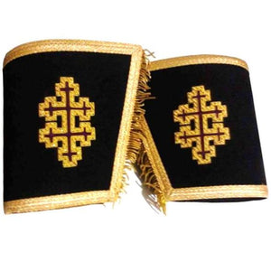 Masonic Gauntlets Cuffs - 33rd Degree with Cross Bullion Embroidered With Fringe - Regalialodge