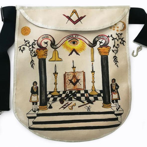 18th Century Inspired Hand-Painted Masonic Lambskin Apron