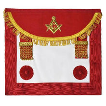 Load image into Gallery viewer, Scottish Master Mason Handmade Embroidery Apron with Rosettes - Red - Regalialodge