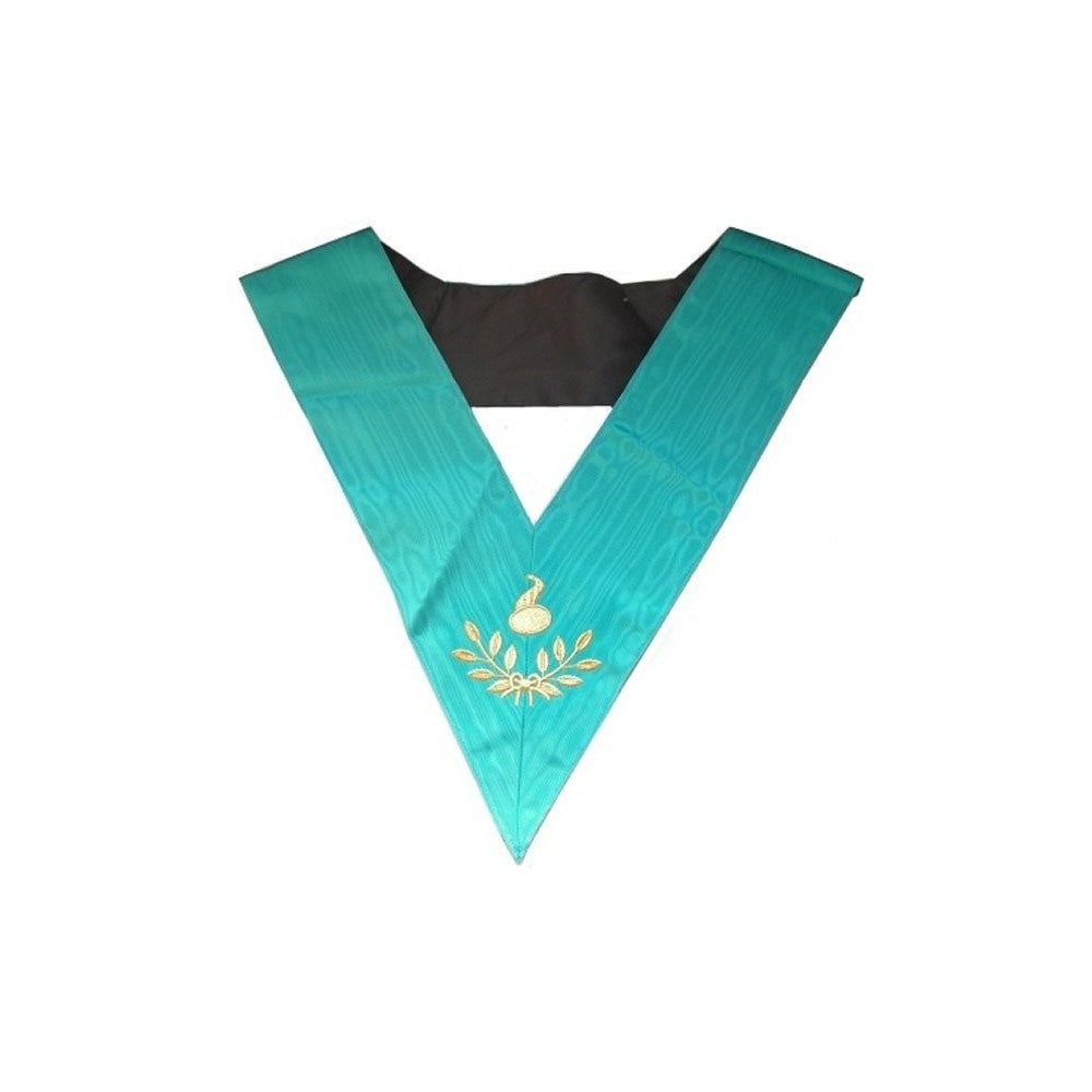 Masonic Officer's collar – Groussier French Rite – Junior Warden – Machine embroidery - Regalialodge