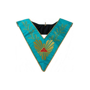 Masonic Officer's collar – Groussier French Rite – Worshipful Master – Acacia 224 leaves – Machine embroidery - Regalialodge