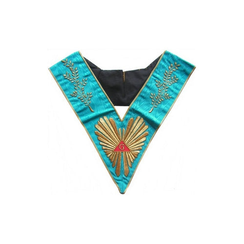 Masonic Officer's collar – Groussier French Rite – Worshipful Master – Acacia w/ 108 leaves – Hand embroidery - Regalialodge