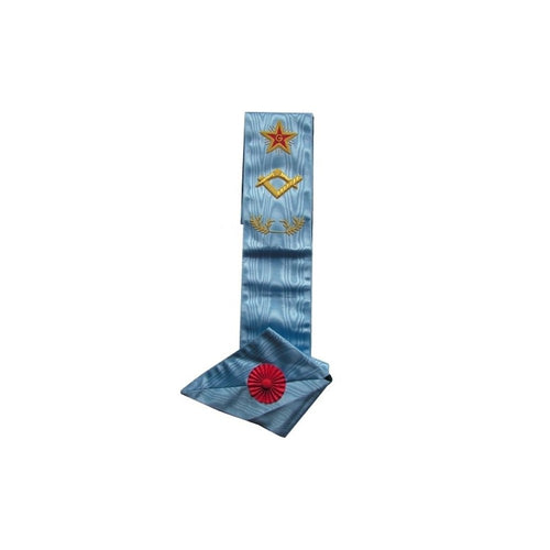 Masonic sash – Traditional French Rite – Master – Square-and-compass + G + Flaming star – Mourning back - Regalialodge