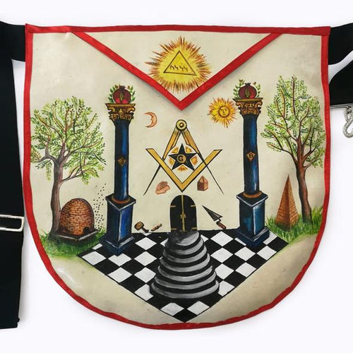 The Two Pillars of Jachin and Boaz Hand-Painted Masonic Lambskin Apron