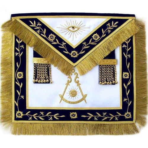 Masonic Blue Lodge Past Master Apron Hand Embroidered Bullion Vine - Regalialodge