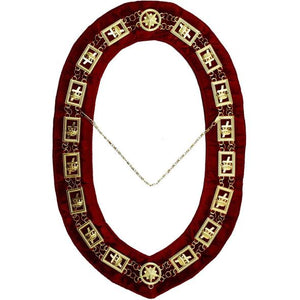 Knights Templar - Masonic Chain Collar - Gold/Silver on Red - Regalialodge