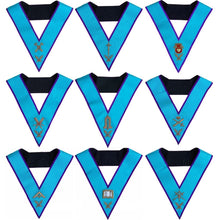 Load image into Gallery viewer, Masonic Memphis Misraim Officer Collars Set Of 9 Hand Embroidered - Regalialodge