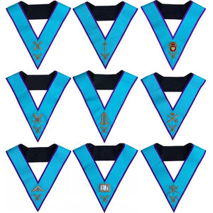 Masonic Memphis Misraim Officer Collars Set Of 9 Hand Embroidered - Regalialodge