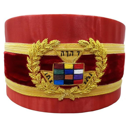Royal Arch Grand Past High Priest PHP Bullion Hand Embroidered Red Cap - Regalialodge