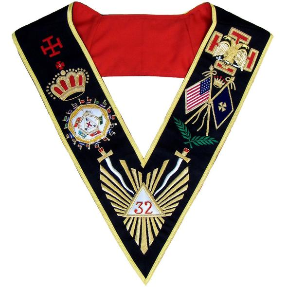 Masonic AASR Scottish Rite 32 Degree Collar Hand Embroidered - All Countries Flags - Regalialodge