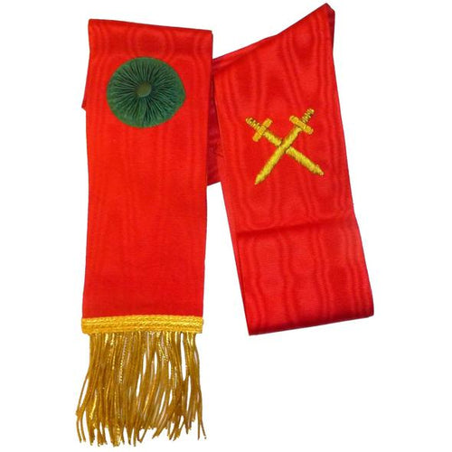 Knight Mason Hand Embroidered Sash Red - Regalialodge