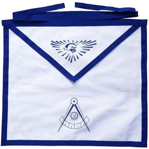 Masonic Blue Lodge White Cotton Duck Cloth Past Master Apron Printed - Regalialodge
