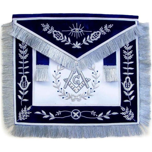 Masonic Master Mason Apron Silver Bullion Hand Embroidered Vine Work - Regalialodge