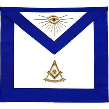 Load image into Gallery viewer, Masonic Blue Lodge Past Master Apron Golden Bullion Hand Embroidered - Regalialodge