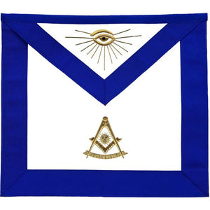 Masonic Blue Lodge Past Master Apron Golden Bullion Hand Embroidered - Regalialodge