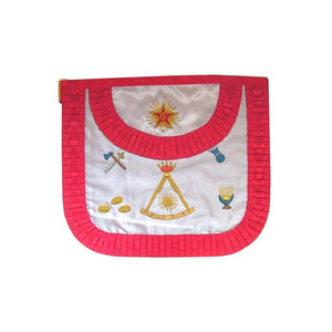 Satin Masonic apron – French Chapter – 2nd Order – Sextant and symbols – Rounded angles - Regalialodge