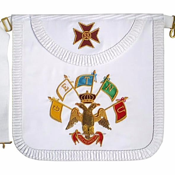 Masonic Scottish Rite Satin Round Apron - AASR - 33rd degree - Regalialodge