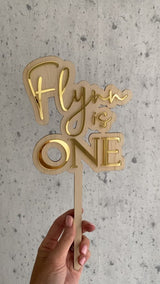 3D layered cake topper - timber backing