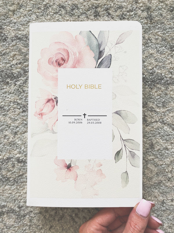 Holy Bible with personalised print