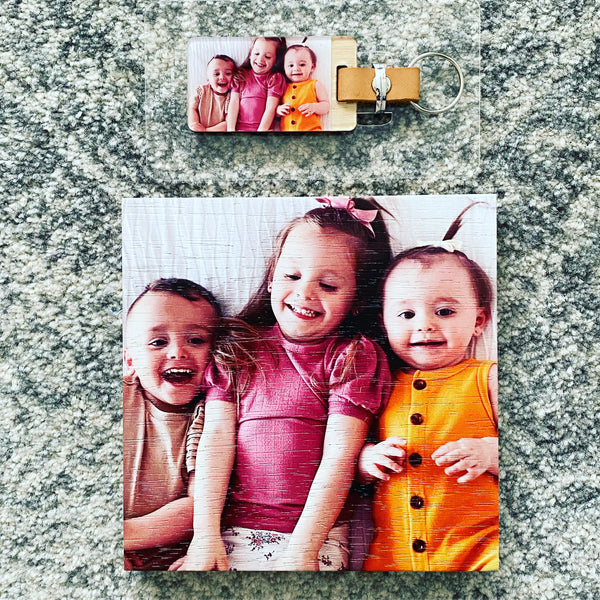 Timber photo block and keyring bundle