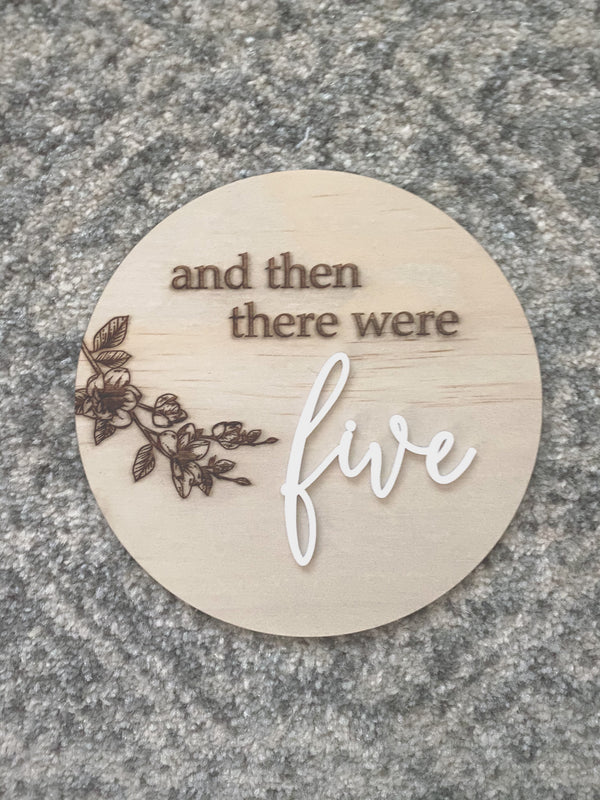 """And then there were ..."" pregnancy announcement plaque"
