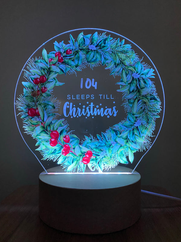 """Sleeps till Christmas"" LED light"