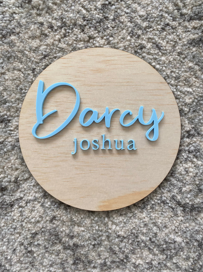 First and middle name birth announcement plaque