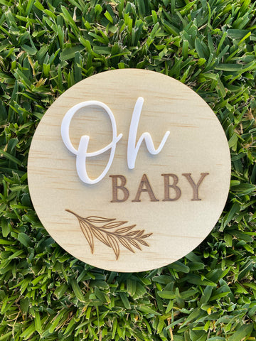 """Oh baby"" pregnancy announcement plaque"