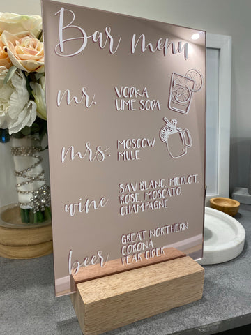Mirror acrylic wedding signage | rose gold, gold or silver