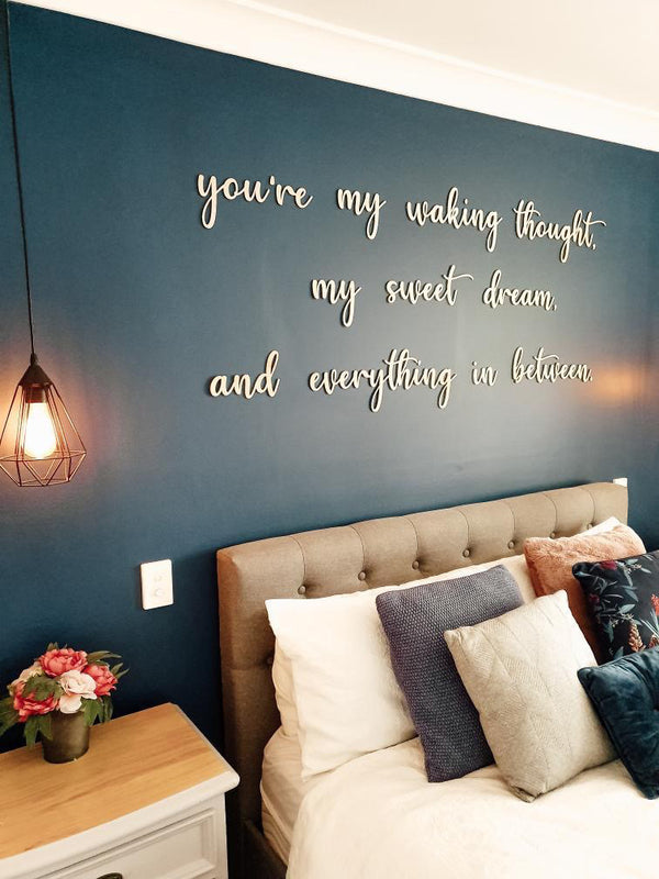 """You're my waking thought"" timber wall script - large"