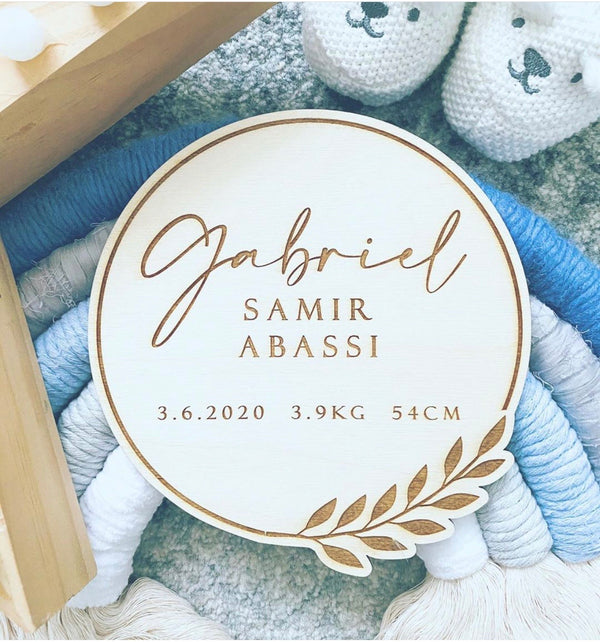 Birth details announcement plaque with branch