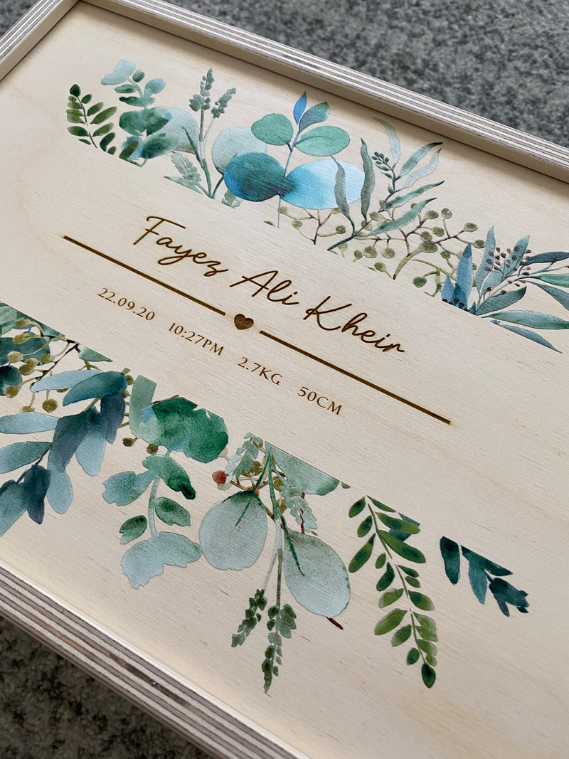 Keepsake box with eucalyptus print and engraved birth details