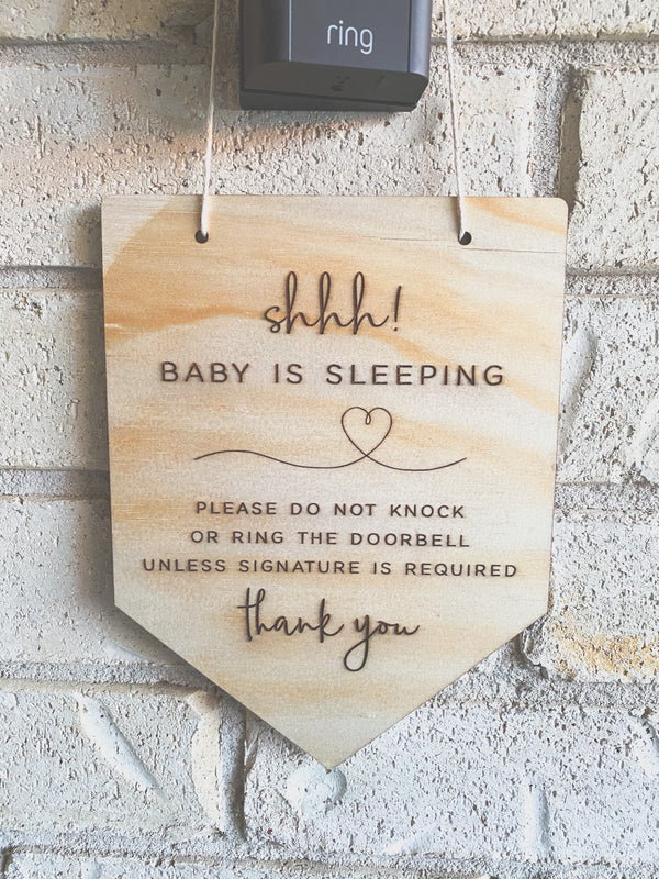 Shhh baby is sleeping plaque