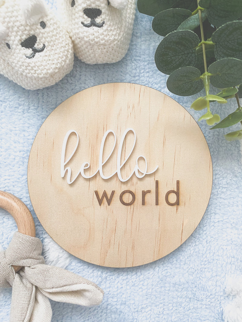 """Hello world"" birth announcement plaque"