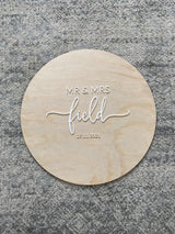 "Wedding ""guest book"" round timber sign"