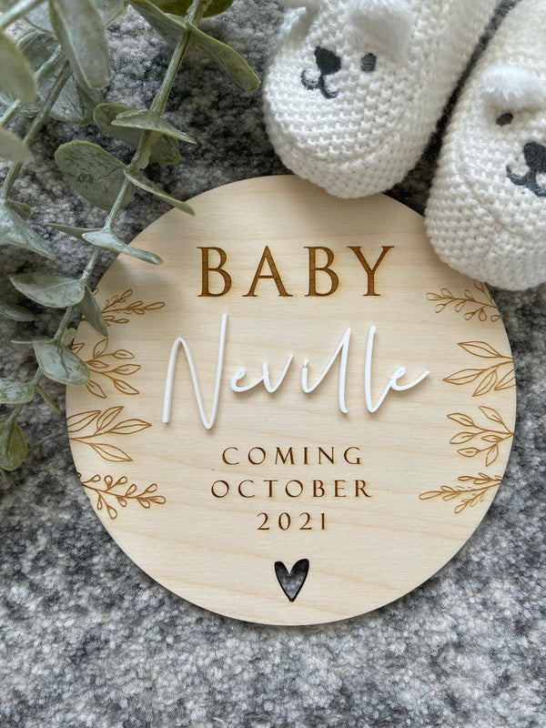 Botanical pregnancy announcement plaque