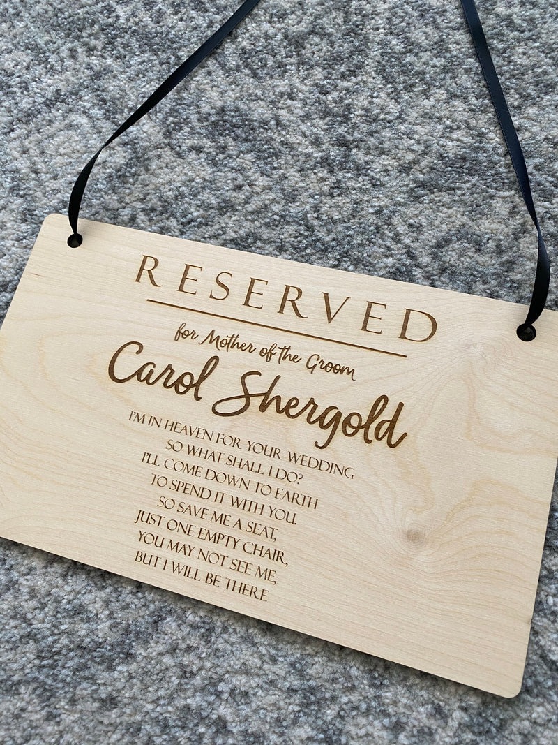Wedding plaque for loved one in heaven