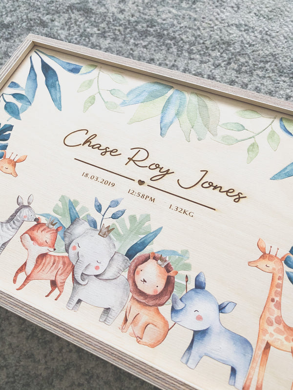 Keepsake box with baby safari animals and engraved birth details