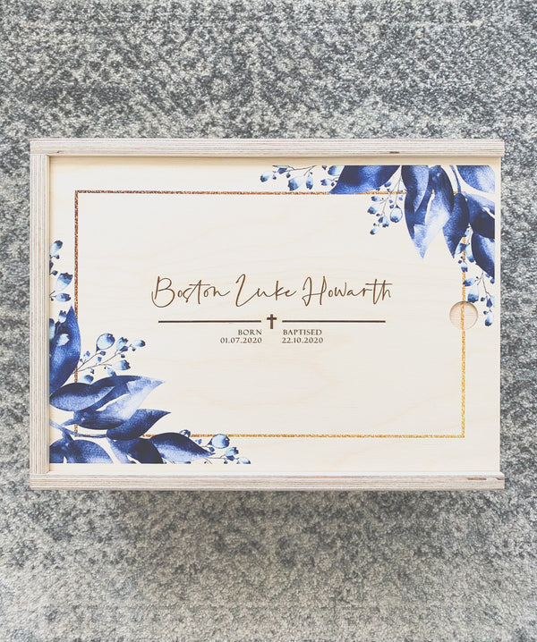 Keepsake box with blue leafy print and engraved details