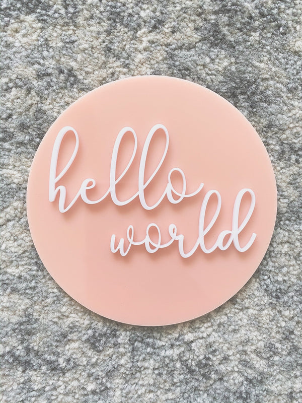 "Acrylic ""hello world"" birth announcement plaque"
