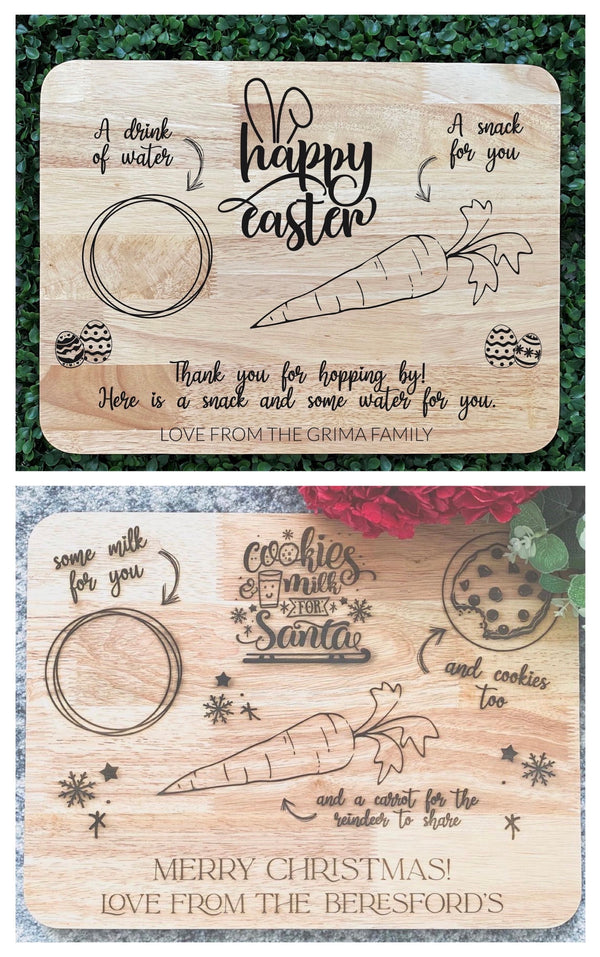 Double-sided Santa and Easter Bunny snack tray
