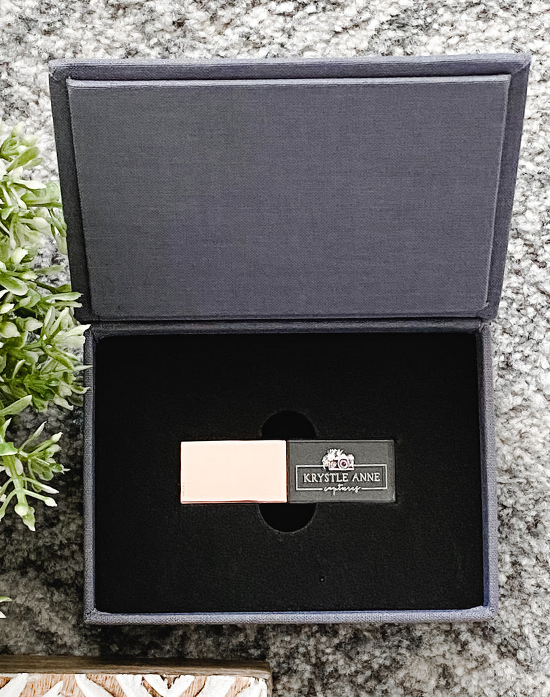 USB crystal rose gold 64GB with grey linen keepsake box