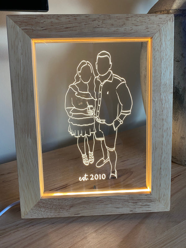 LED oak wooden frame