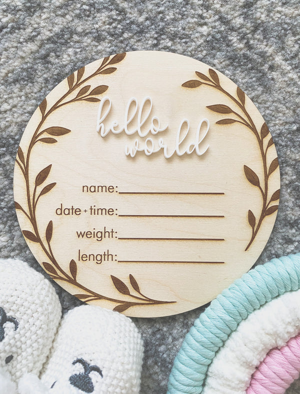 Timber baby announcement plaque with vine border