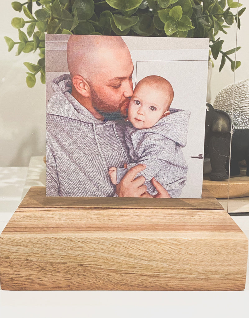 Photo printed on clear acrylic with timber base