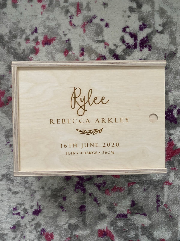 Keepsake box - engraved birth details