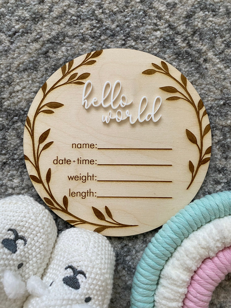 Timber birth details announcement plaque with vine border