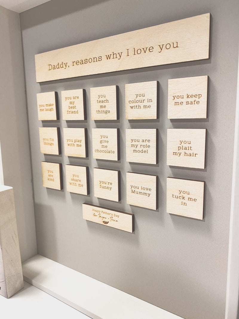 "Father's Day - ""Reasons why I love you"" frame"